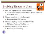 evolving threats to users