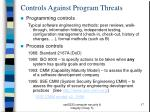 controls against program threats
