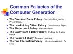 common fallacies of the computer generation