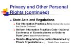 privacy and other personal rights continued