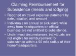 claiming reimbursement for subsistence meals and lodging