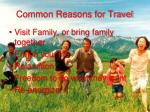 common reasons for travel