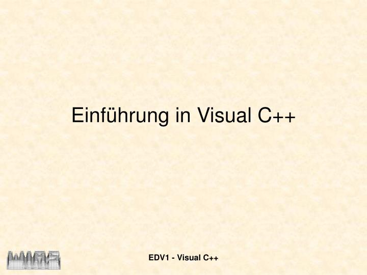 Einf hrung in visual c