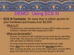 demo using ecs iii
