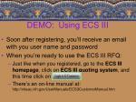 demo using ecs iii17