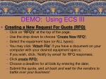 demo using ecs iii18