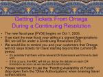 getting tickets from omega during a continuing resolution