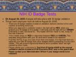 nih id badge tests