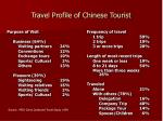 travel profile of chinese tourist