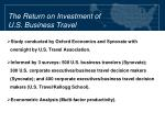 the return on investment of u s business travel