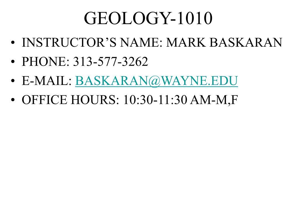 geology 1010 l.