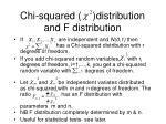chi squared distribution and f distribution
