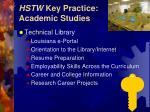 hstw key practice academic studies