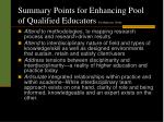 summary points for enhancing pool of qualified educators by moderator j dohr17