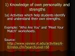 1 knowledge of own personality and strengths