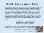 credit hours work hours