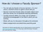 how do i choose a faculty sponsor