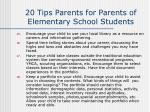 20 tips parents for parents of elementary school students