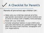 a checklist for parent s