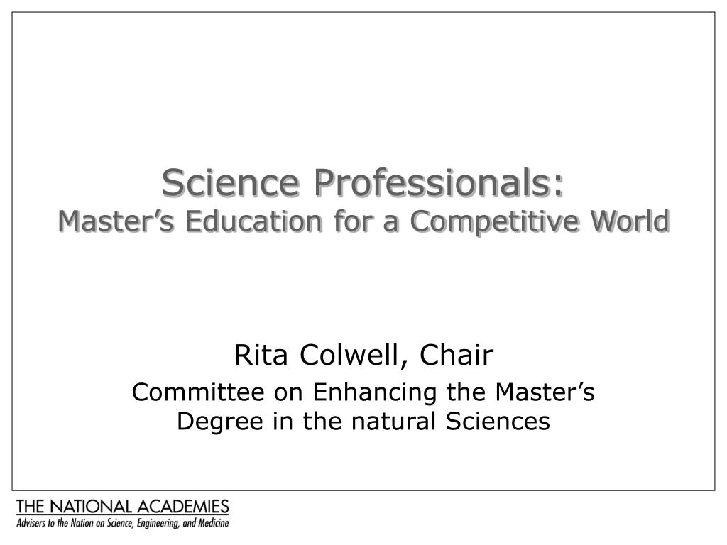 science professionals master s education for a competitive world l.