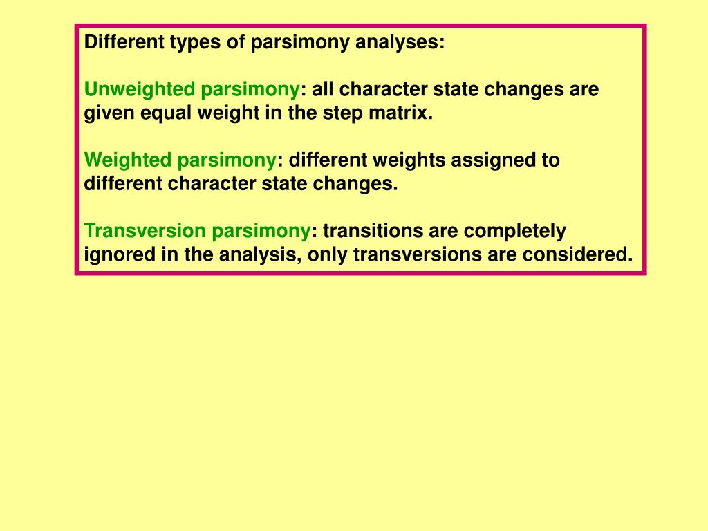 Different types of parsimony analyses: