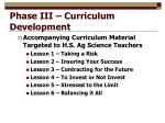 phase iii curriculum development