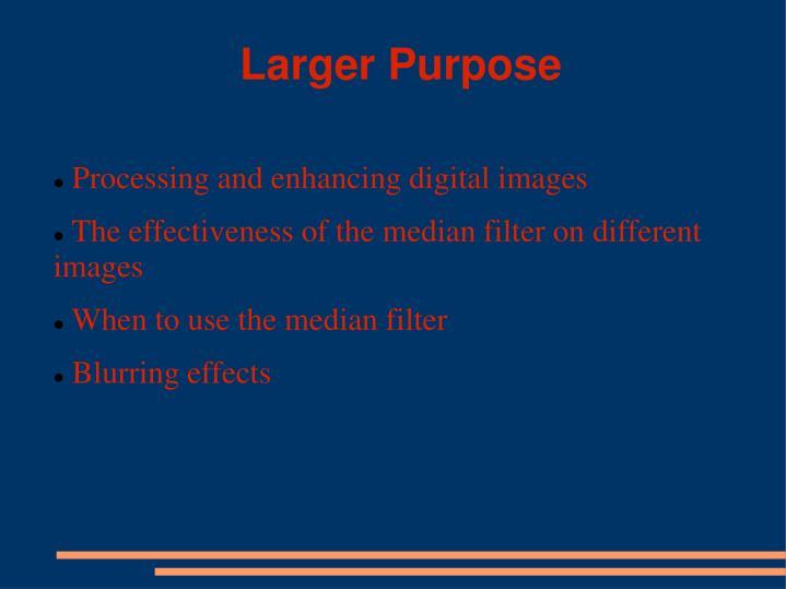 Larger Purpose