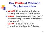 key points of colorado implementation