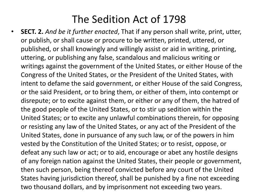 an introduction to the sedition act of 1798 Find out more about the history of alien and sedition acts introduction adams signed the sedition act into law on july 14, 1798.
