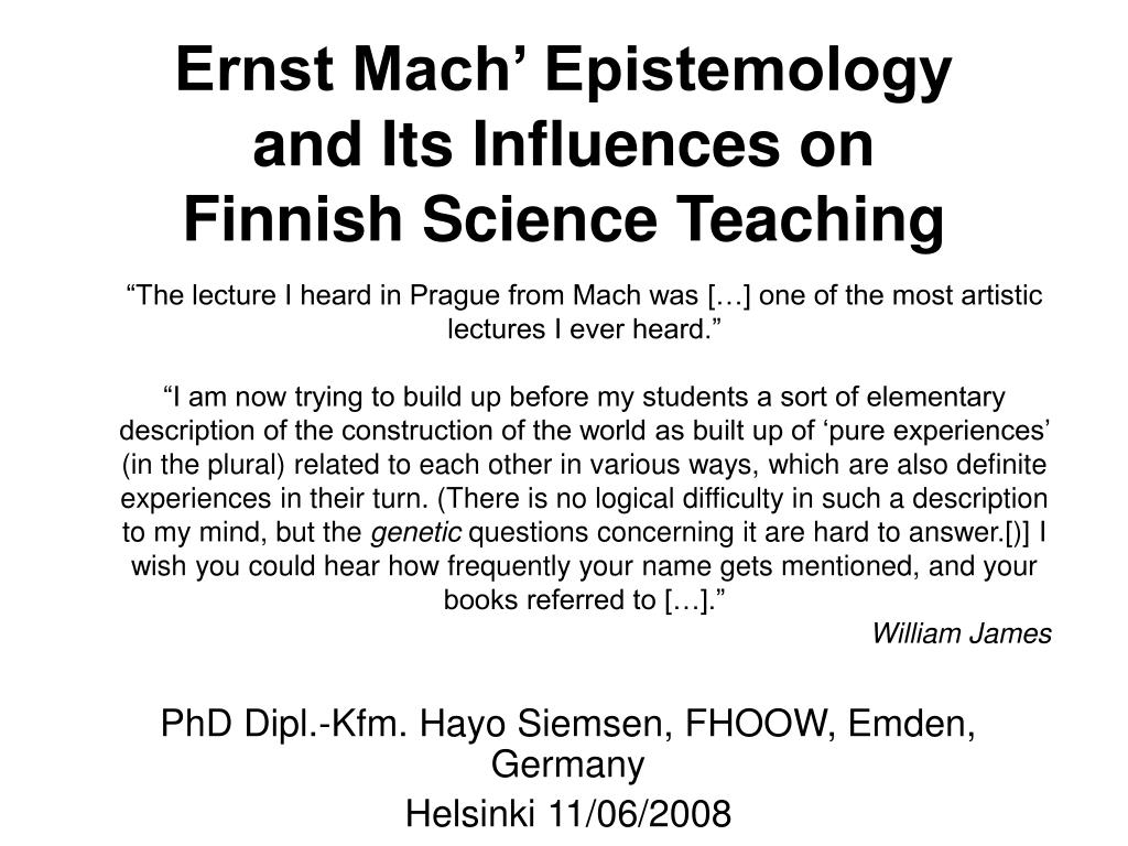 ernst mach epistemology and its influences on finnish science teaching l.