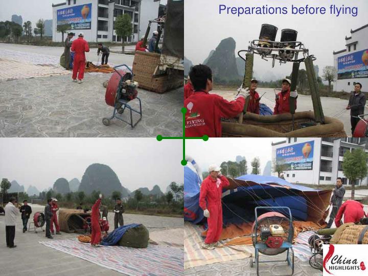 Preparations before flying