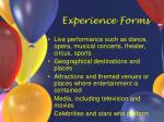 experience forms