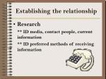 establishing the relationship