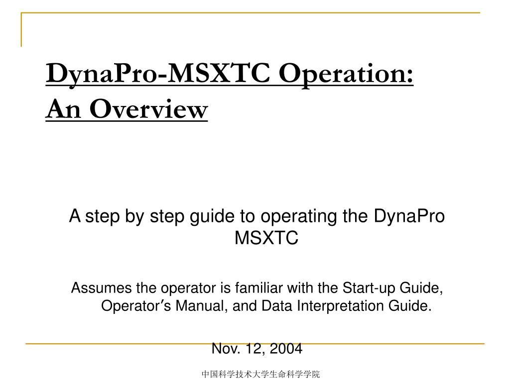 dynapro msxtc operation an overview l.