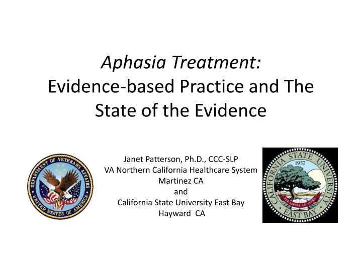 aphasia treatment evidence based practice and the state of the evidence n.