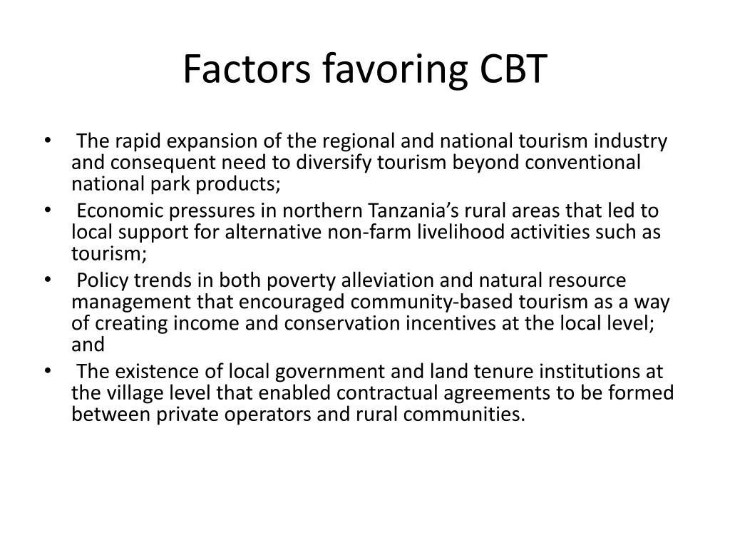 Factors favoring CBT