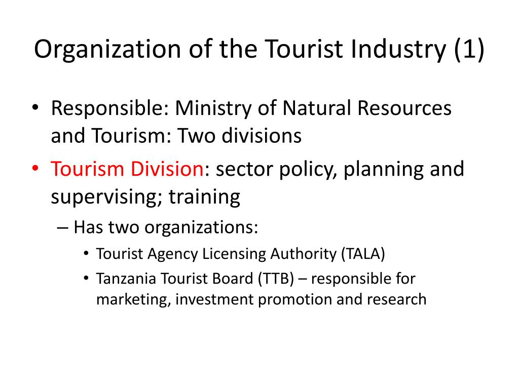 Organization of the Tourist Industry (1)