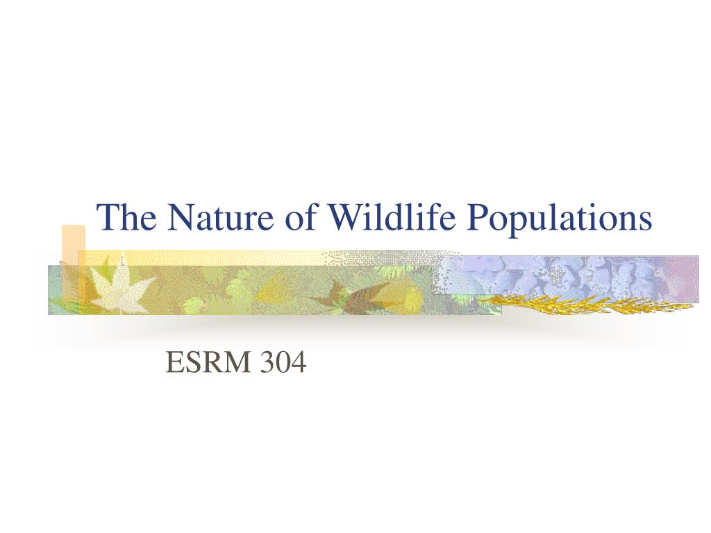 the nature of wildlife populations l.