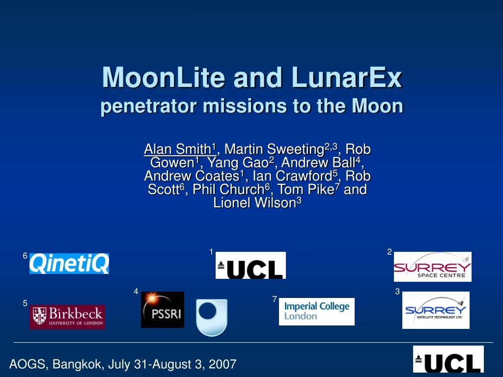 moonlite and lunarex penetrator missions to the moon l.