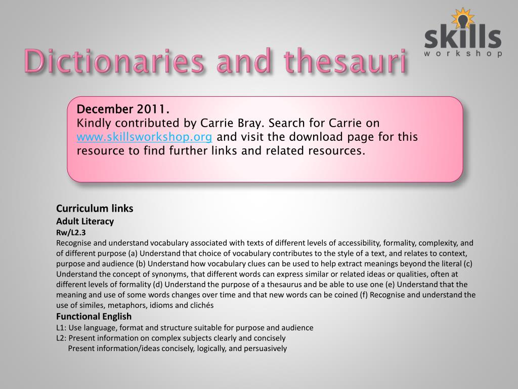 dictionaries and thesauri l.