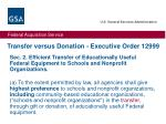 transfer versus donation executive order 12999