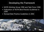developing the framework