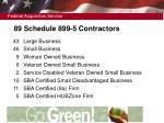 89 schedule 899 5 contractors