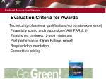 evaluation criteria for awards