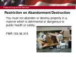 restriction on abandonment destruction