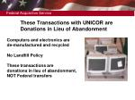 these transactions with unicor are donations in lieu of abandonment