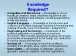 knowledge required