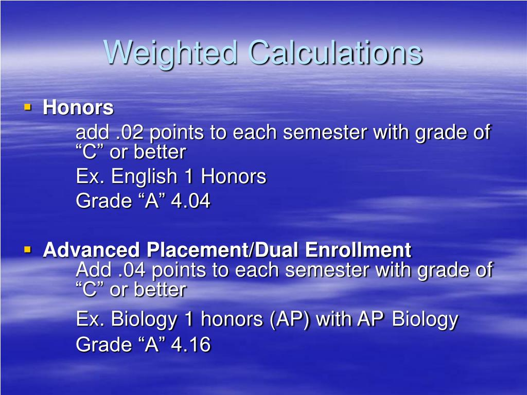 Weighted Calculations