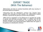 export trade with the bahamas