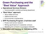 green purchasing and the best value approach